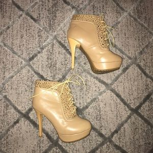 Shoes - Tan Lace Up Booties Size 7